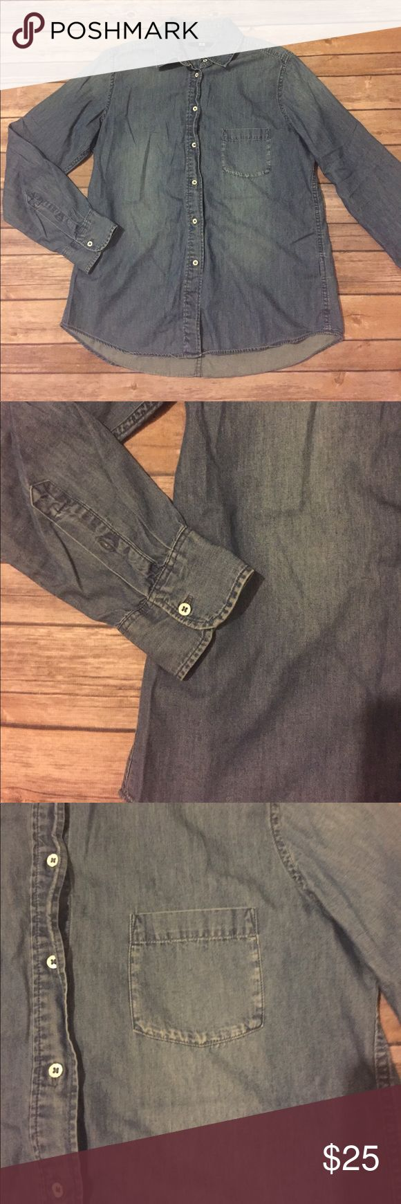 Uniqlo Denim Button Down This uniqlo Denim Button Down is size medium, in excellent used condition, and made of 100% cotton Uniqlo Tops Button Down Shirts