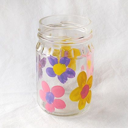 Fingerprint Flower Vase  This lovely little vase is perfect for spring, Mother's Day, Grandparent's Day or any occasion that involves the beauty of flowers. This painted jar doubles as a keepsake as it's made with your child's fingerprints!