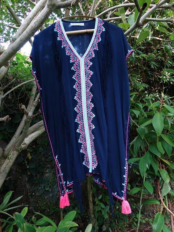 Caftan robe de plage pompon Kaftan plage couvrez-vous