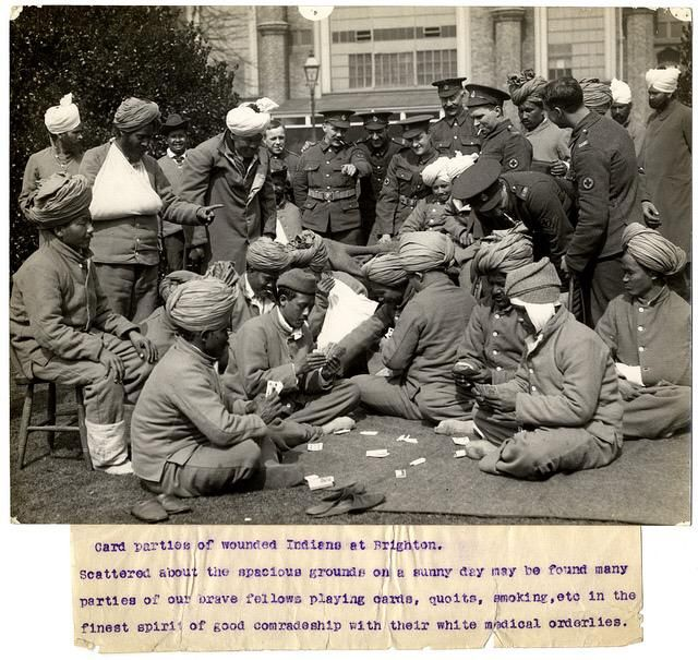 Sikh, Hindu, Muslim, Gurkha and Gora chaps relaxing together in #Brighton hospital - now @BrightonMuseums #WW1