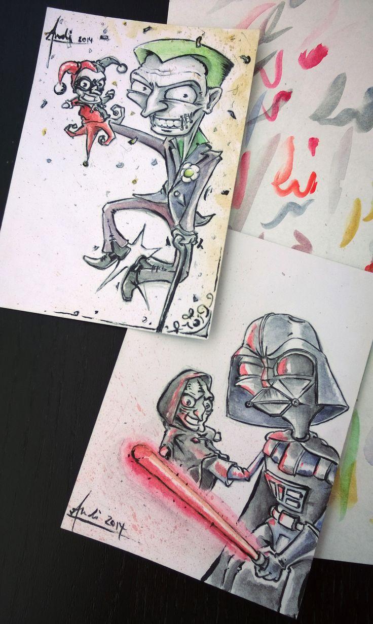 Sketchcards @ Comic Salon Erlangen  Joker Harley Quinn Darth Vader Emperor Star Wars Batman Sketchcards