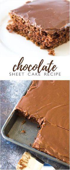 Classic Chocolate Sheet Cake Recipe - This delicious sheet cake (some call it a Texas Sheet cake or a sheath cake) is rich and dense, almost like a brownie. Whatever you call it, it's just plain perfect!