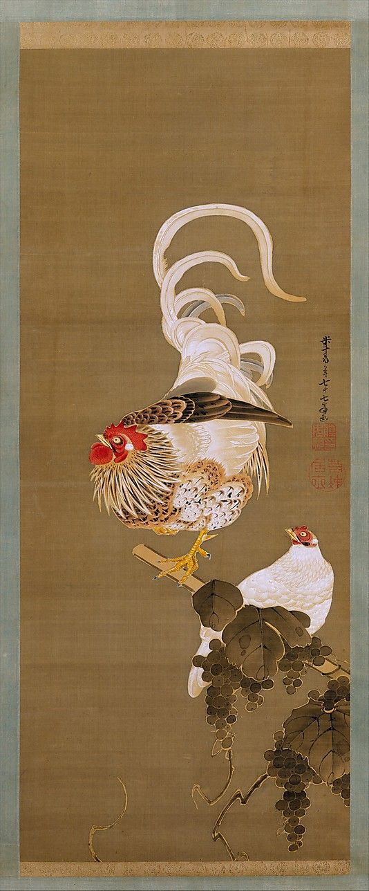 Hen and Rooster with Grapevine, Itô Jakuchû (Japanese, 1716–1800), Edo period (1615–1868), 1792, Hanging scroll; ink and color on silk. The Metropolitan Museum of Art, NY.