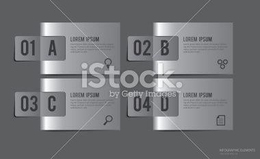 Metal Labels Infographic Elements - Vector Illustration