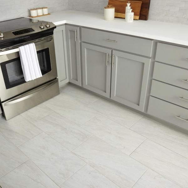 Marazzi Noble Stone Cloud 12 In X 24 In Glazed Porcelain Floor And Wall Tile Ns011224hd1p6 The Home Depot Grey Kitchen Designs Grey Kitchen Floor Kitchen Flooring