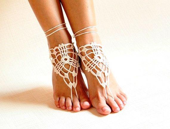 Пляж крючком свадьба босиком сандалии, Обнаженная туфли, Ноги ювелирных изделий, Викторианской кружево, Йога туфли, Свадебные ножной браслет, Пляжные принадлежности купить на AliExpress