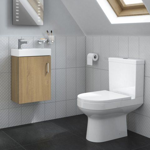 Cesar Toilet & Portland Slimline Floorstanding Basin Cabinet - Oak Effect - soak.com