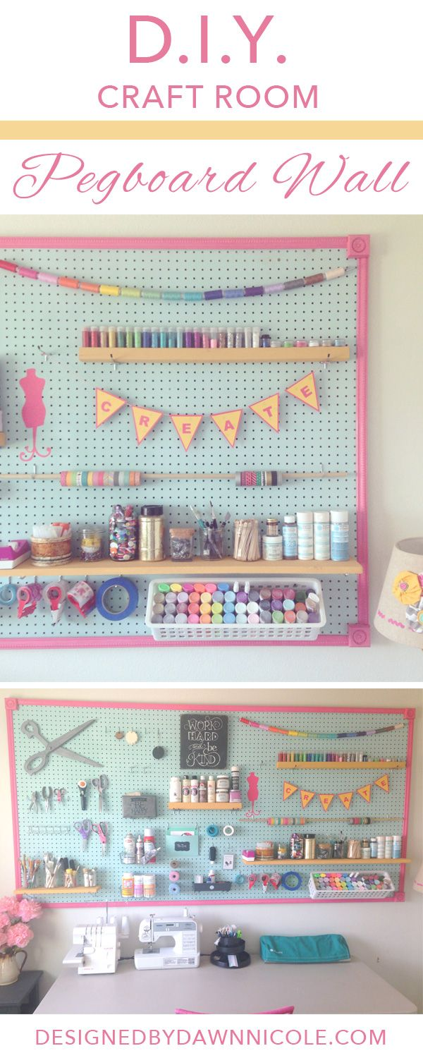 DIY Craft Room: Jumbo Framed Pegboard Wall #silhouettedesignteam