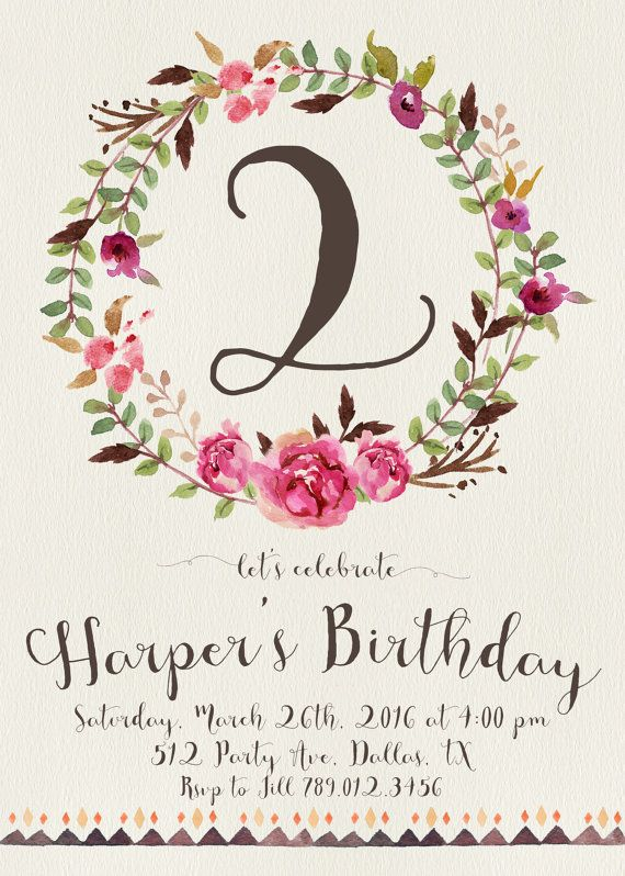 The 25 best Girl 2nd birthday ideas – 2nd Birthday Party Invitations