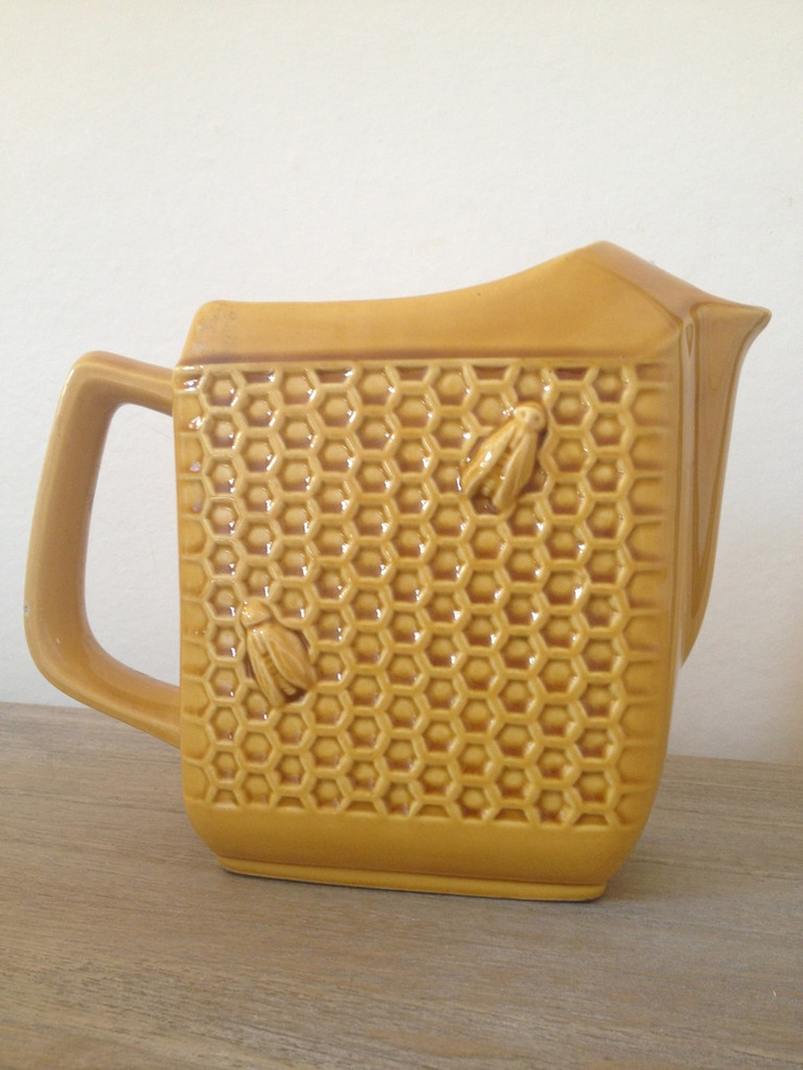 Vintage French Ceramic Honeycomb Bee Jug Fox In Love