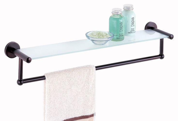 Lovely Bathroom Glass Shelf with towel Bar Chrome