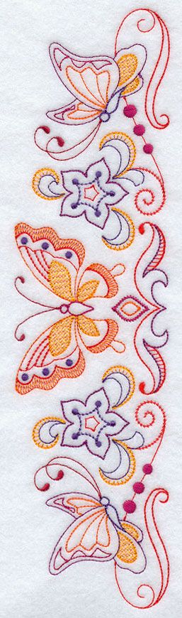 butterfly pillowcase design...I wonder how this would look done in white on a solid color fabric?? Thanks for the inspirations to Freddie Strawbridge
