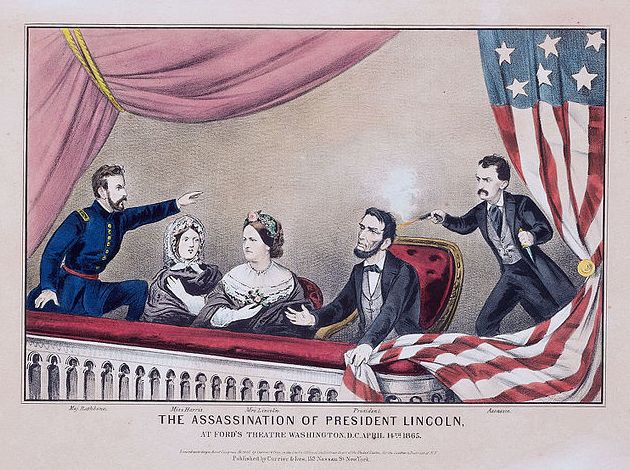 """Illustration: """"Assassination of Abraham Lincoln"""" by Currier and Ives, 1865. Credit: Library of Congress, Prints and Photographs Division. Read more on the GenealogyBank blog: """"Lincoln's Assassin, John Wilkes Booth, Shot Dead"""" https://blog.genealogybank.com/lincolns-assassin-john-wilkes-booth-shot-dead.html"""