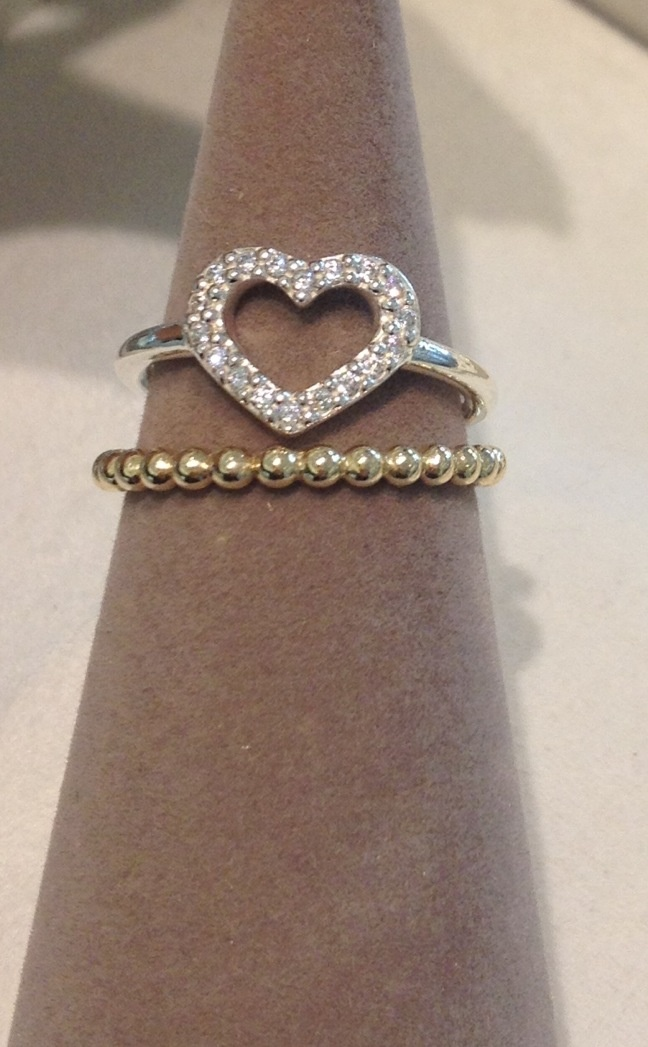 New Valentine Heart Ring Stacked With A Gold Ring