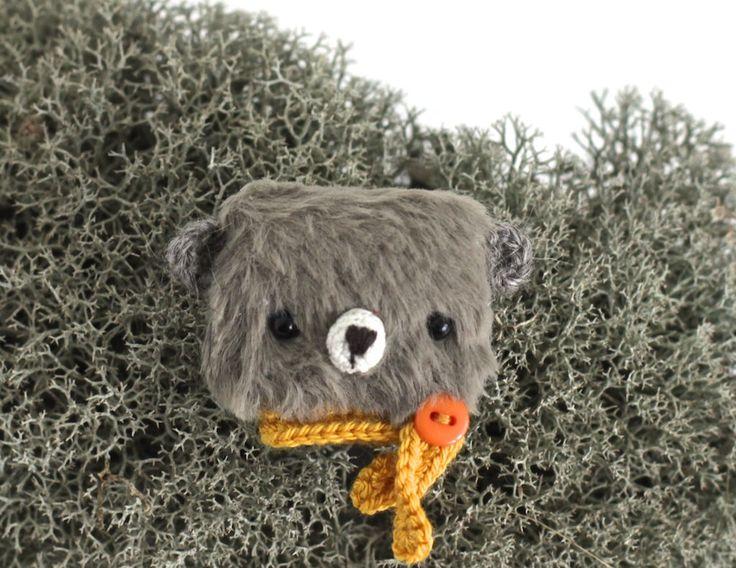 Grey teddy brooch bear funny jewelry animal brooch bear totem animal bear fall gift bear soft brooch friends fantasy brooch teddy bear by KodamaLife on Etsy