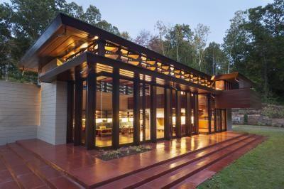 Frank Lloyd Wright's Bachman-Wilson House (1954), a rare two-story Usonian originally built in Millstone, New Jersey,