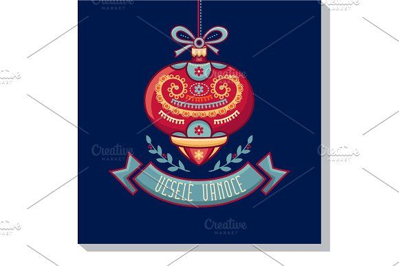 Vesele Vanoce. Christmas card. Czech by Zoya Miller on @creativemarket