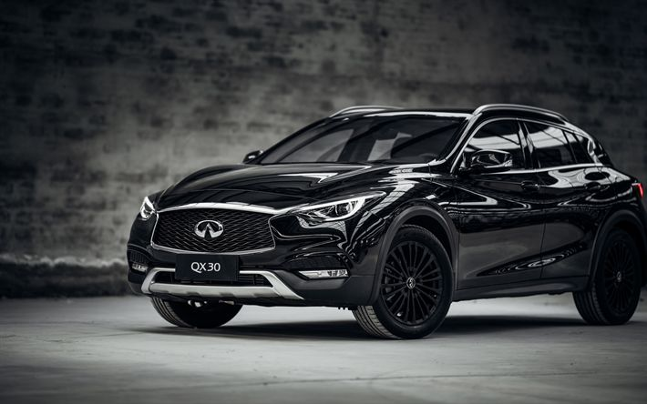 Download wallpapers Infiniti QX30, 2017, Night Edition, black crossover, Japanese cars, black QX30, Infiniti