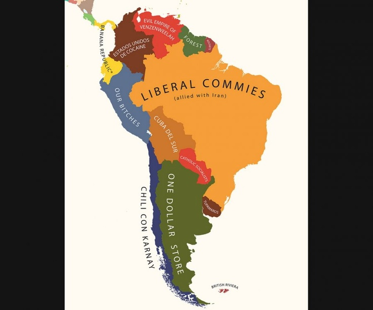 South America According To The Us Funny Mapsmap