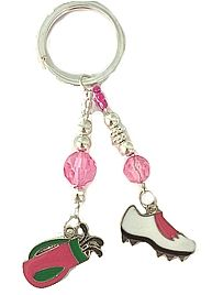 Pink Golf Charm Key Chain