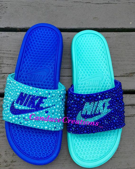 Diapositivas de Nike de desajuste por BlingBasketsandMore en Etsy