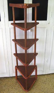 $50 RETRO Timber CORNER DISPLAY 5 Tier Shelf SHELVES 107cm Text 0411691171 or email info@bitspencer.com