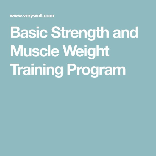 Basic Strength and Muscle Weight Training Program