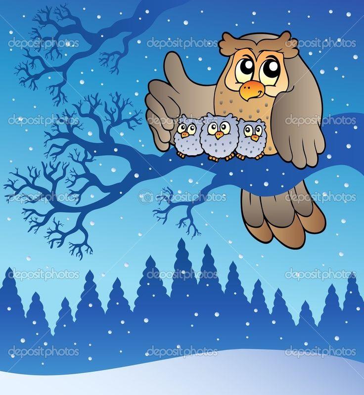 Сова семья зимой — стоковая иллюстрация #4525451