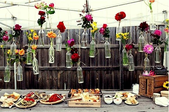 Hanging vases for behind the bar, food, or maybe the head table.