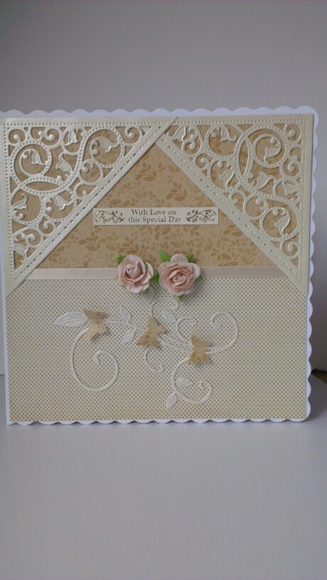 Birthday card using my new gold corner die from Spellbinder.