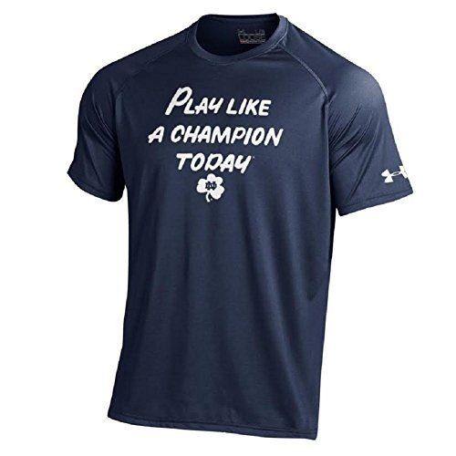 """Under Armour Men's Notre Dame Fighting Irish NCAA """"Play Like A Champion Today"""" NuTech T-Shirt-Navy-XXL:   Gear up for game day in South Bend just like your favorite athletes in the Under Armour® Men's Fighting Irish Football Performance T-Shirt. With a screen-printed """"Play Like A Champion Today"""" motto on the chest , you'll be sporting the same gear you see on the field for pre-game at Notre Dame Stadium. Integrated HeatGear® technology wicks away moisture, so whether you're at the game..."""