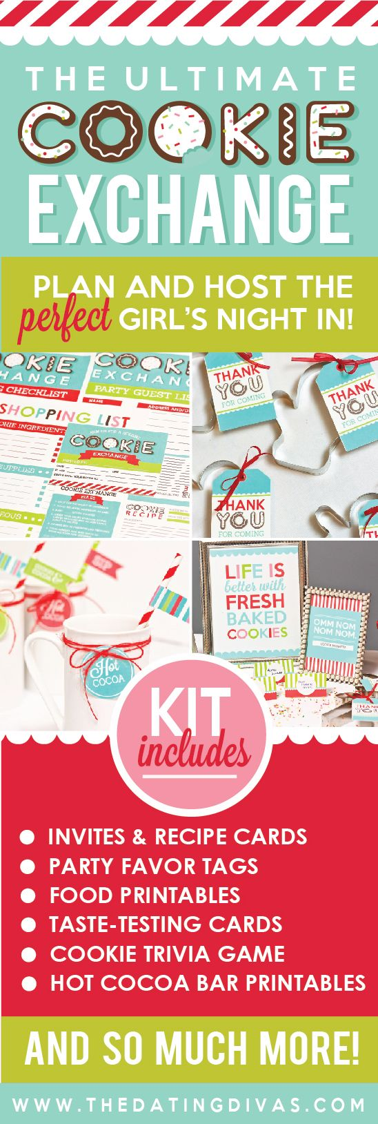 Host the ULTIMATE Girl's Night In with our gorgeous Cookie Exchange Printable Party Kit!