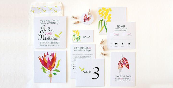 unique nature inspired wedding invitation