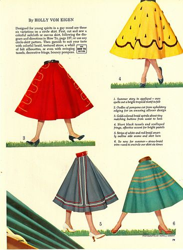 50s skirt print ad red yellow green black stripe Just for fun skirts (1952). Image 1 of 2. #vintage #1950s #fashion #novelty_prints