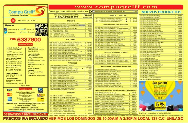 Lista de-precios-compugreiff-agosto-31-2013 by Compu Greiff  via slideshare