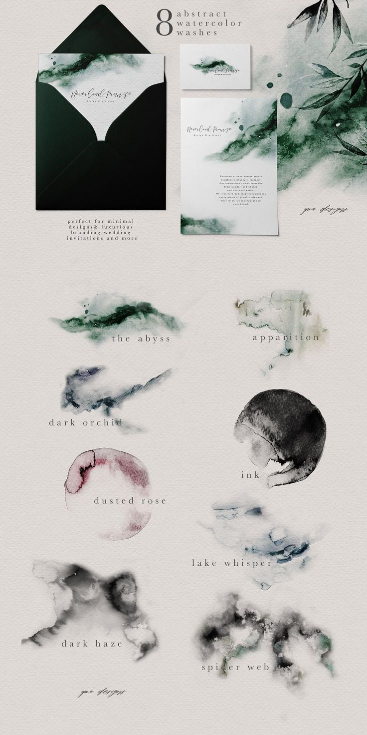 Abstract watercolors - Ethereal Woodland - Graphic Set northern forests and inspired by the wild and raw nature, this ethereal collection brings together an artisan feel, with a rustic elegance and watercolor illustrations
