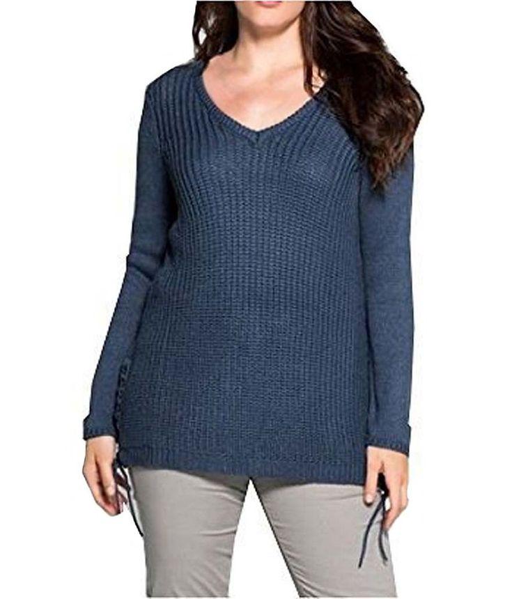 Sheego Damen Strickpullover Pullover Damen Blau Gr.44/46   Kleidung & Accessoires, Damenmode, Pullover & Strick   eBay!