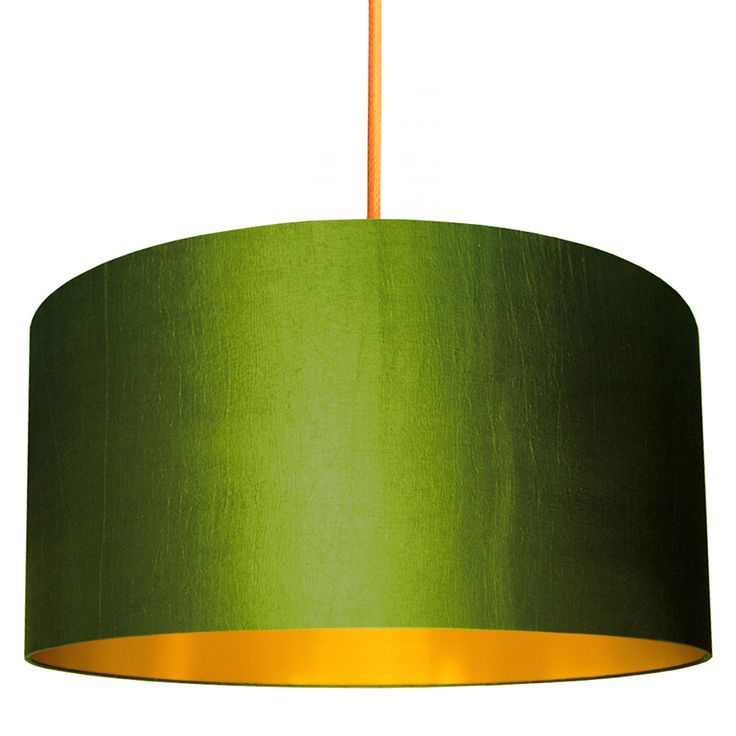 Gold lined lampshade in olive