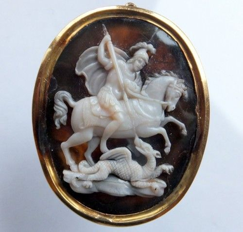 """ Large "" and very finely carved sardonyx cameo of Saint George,patron Saint of England slaying the dragon.The cameo is depicting St George in the classical early stance of the ""official "" v..."