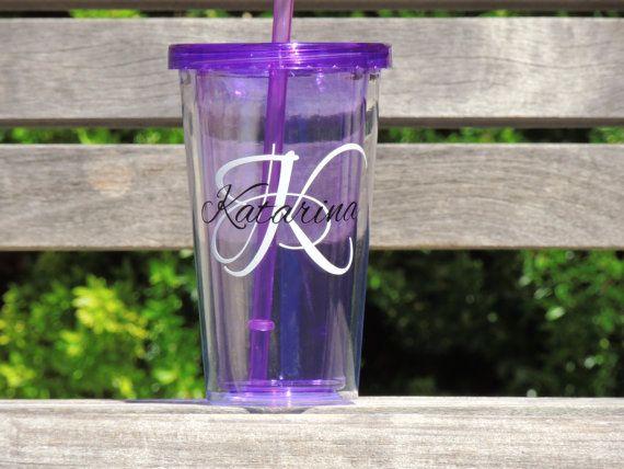 Purple water tumbler personalized tumbler by ShopAroundTheCorner3, $8.00