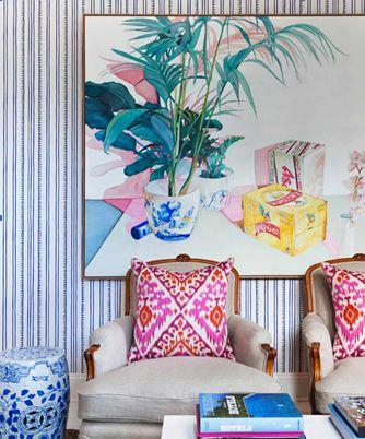 fab botanical art. stripes and ikat: Spiro Wallpapers, Living Rooms, Anna Spiro, Pillows Patterns, Home Interiors Design, Wallpapers Ideas, Porter Paintings, Porter Paints, Spiro Interiors