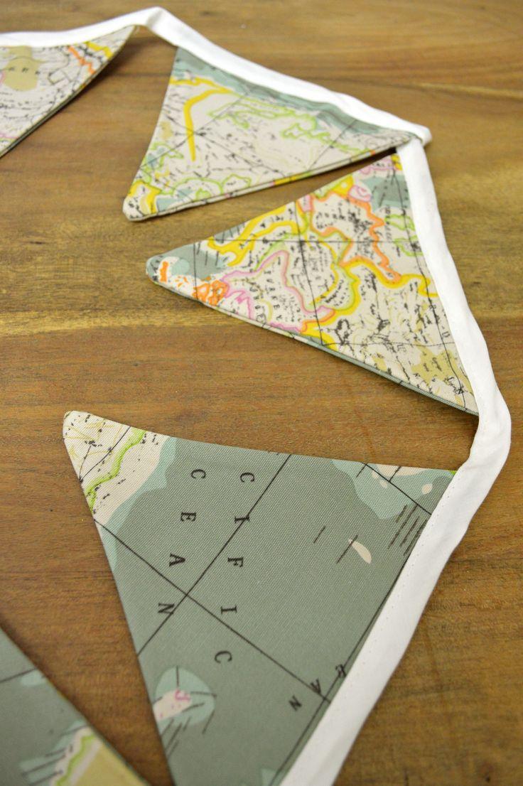 world map fabric flag buntings