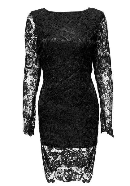Long-Sleeved Black Lace Dress