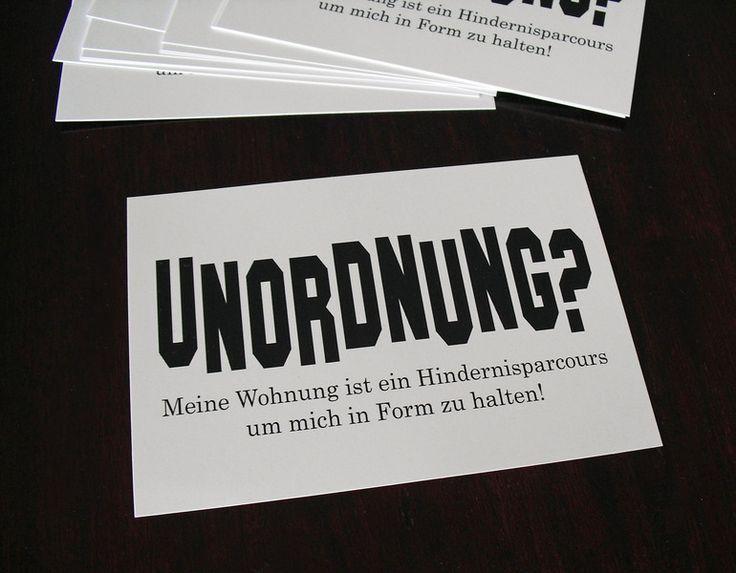 Postkarte 'UNORDNUNG' von cute as a button auf DaWanda.com