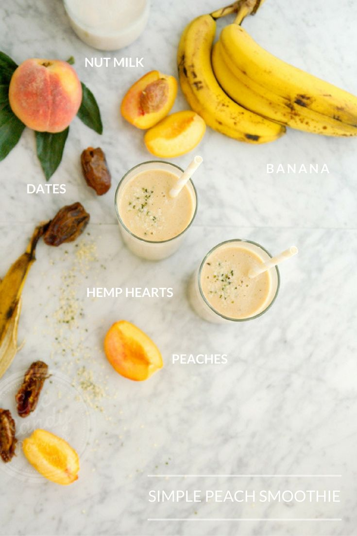 Simple peach and date smoothie (vegan, no refined sugar) via @eyecandypopper