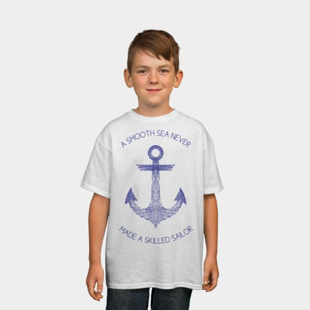 Smooth Sea Boys Tee by Fimbis available as a T Shirt, Phone Case, Tank Top, Crew Neck, Pullover, Zip, and Sticker.  #geometric #nautical #anchor #sailing #sailor #quote #typography