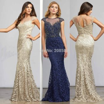 Champagne Navy Blue Beaded Mermaid Mother of the Bride Lace Dresses Gowns Cap Sleeve 2015 Free Shipping M2162