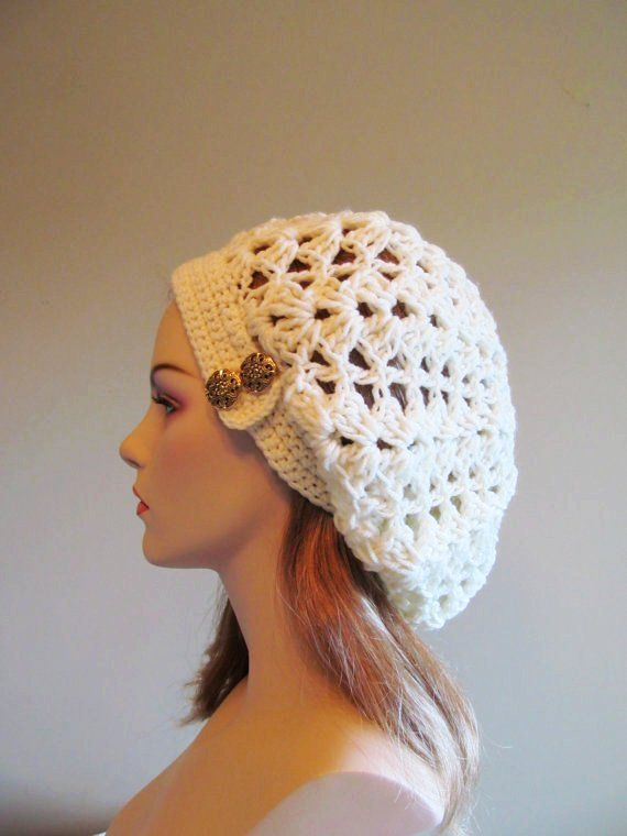 Slouchy Spring Beret Beanie Womens Mesh Lace Crochet ...