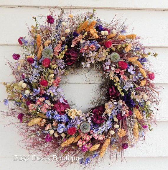 """Romantic Wreath, """"Wildflowers"""" Dried Floral Wreath, Year Round Wreath, Door Wreath, Spring Wreath, Centerpiece, Candle Ring"""