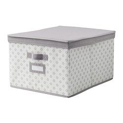 """SVIRA Box with lid - gray/white flowers, 15 ¼x19x11 """" - IKEA - great as linen closet storage boxes, perfect for seasonal containers."""